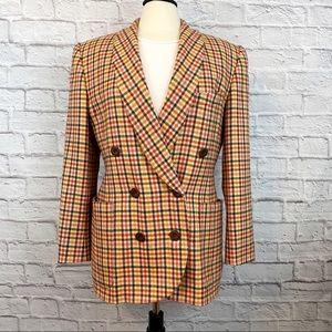 Vintage Escada 1980s - 90s Plaid Wool Blazer 38 M